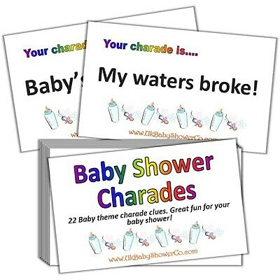 Baby Shower Game, CHARADES- UNISEX, Yellow, Party Game, Baby Shower, Baby • 2.99£