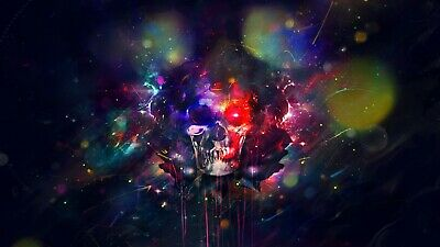 £16.99 • Buy Abstract Skull - Colourful Modern Wall Art Large Poster / Canvas Pictures