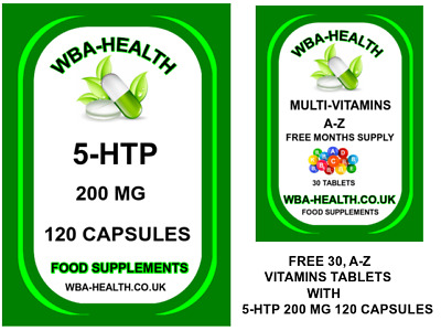 AU21.13 • Buy 5-htp  200 Mg 120  Capsules With Free 30  Az Vitamins Tablets