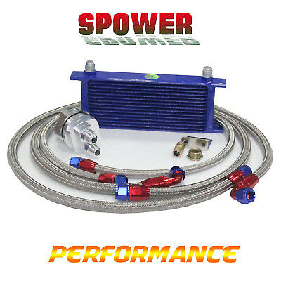 AU500 • Buy 15 Row AN10 Engine Oil Cooler+ 3/4*16 & M20 Filter Relocation Adapter Kit Silver