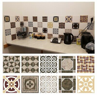 Mosaic Tile Stickers Transfers For BROWN 150mm X 150mm 6 Inch Kitchen Tiles  BB1 • 13.99£