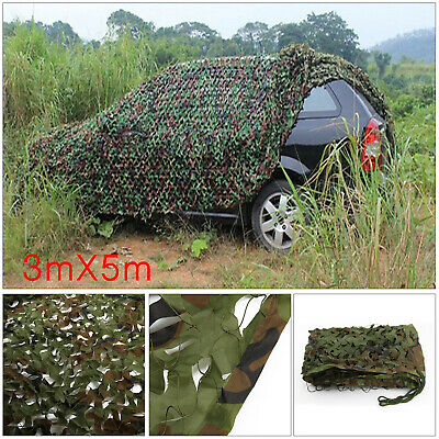 3m X 5m Hunting Camping Jungle Camouflage Net Mesh Woodlands Military Camo Green • 17.59£