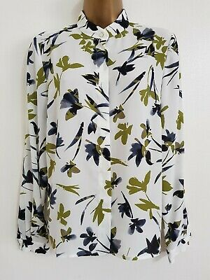 NEW EASTEX RRP£59.00 10-20 Green White Leaf Floral Print Blouse Shirt Top Chiffo • 12.99£