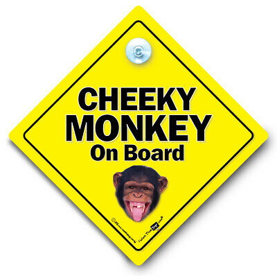 £3.54 • Buy Cheeky Monkey On Board Car Sign, Suction Cup Car Sign, Chimp Baby On Board Sign