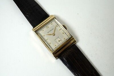 WITTNAUER FANCY CASED RECTANGLE 10K R.G.P. ILLINOIS WATCH CASE Co. DATES 1940'S • 259.78£