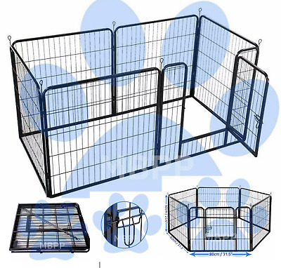 8pc Puppy Play Pen Dog Whelping Box Cage Kitten Crate Rabbit Run Guinea Pig Pen • 59.95£