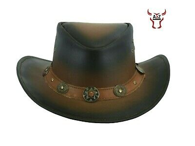 £19.99 • Buy AUSSIE Style Real Leather Cowboy Hat Two Tone Western Bush Hat UK Stock