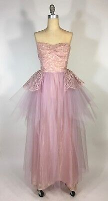 £77.51 • Buy Vintage 1950's Sweetheart Bust LILAC PURPLE Tulle, Lace Prom Dress Gown Size XXS