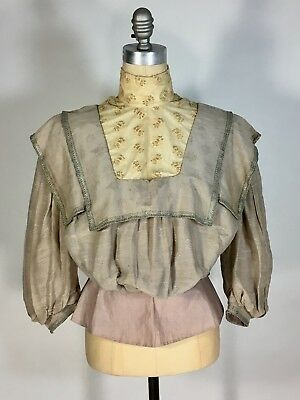 £404.71 • Buy Antique Edwardian 1900's MUSEUM QUALITY Silk Jacquard Afternoon Blouse With Lace