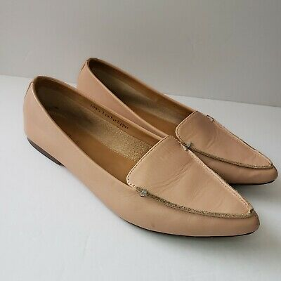 cf44c1dd5ba J. Crew Edie Womens 5.5 Nude Leather Pointy Toe Loafers Flats EUC • 36.00