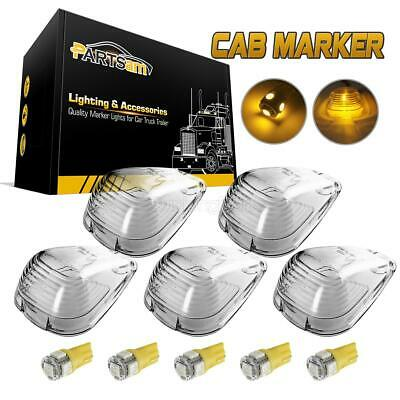 $18.69 • Buy 5pc Clear Clearance Light Cab Marker Light Cover Lens +5x T10 194 Amber LED Bulb