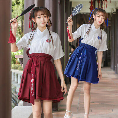 $ CDN42.87 • Buy Hanfu Womens Chinese Style Short Skirt Shirt Sets Printing Red Casual Dress Tie