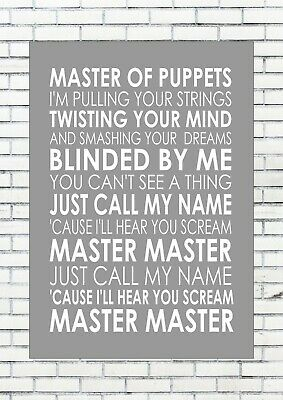 MASTER OF PUPPETS - METALLICA  Typography Words Song Lyric Lyrics  • 25£