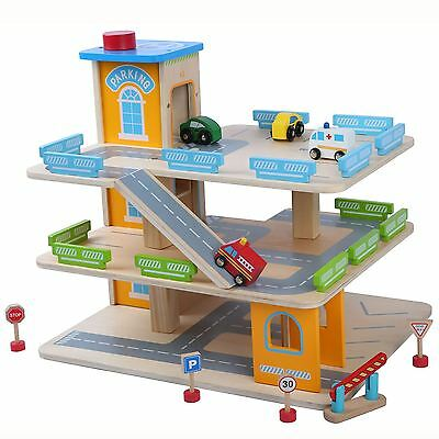 Wooden Car Park Garage With Lift Fun Toy Cars Boys Playroom • 46.99£