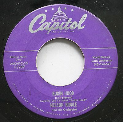 Soundtrack Robin Hood 45 Nelson Riddle - Robin Hood / Lisbon Antigua On Capitol • 3.95£