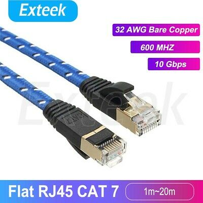AU7.95 • Buy CAT7 RJ45 10Gbps Ethernet Network Lan Cable Flat Shielded Patch Lead