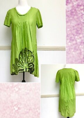 Womens Filo Dress Size 16 Green Black Casual Swing High Low 100% Cotton New • 16.21£