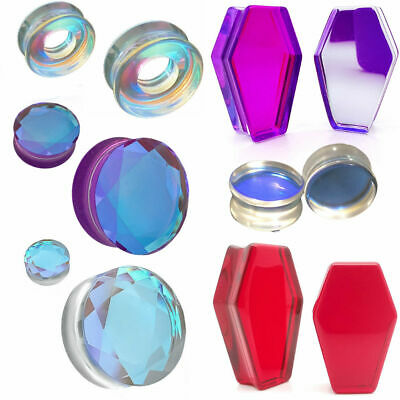 $9.99 • Buy Ear Gauges Stretching Plugs Solid Glass Double Saddle Ear Tunnels 2g -1 Inch
