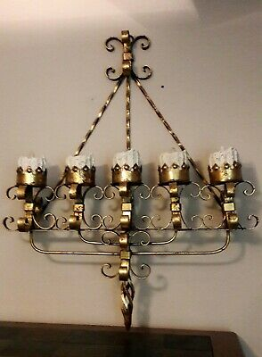 Spanish Wrought  Iron Gothic Wall Sconce 5 Light Candle Candelabra • 612.12£