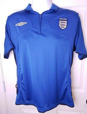 195a2a510 Umbro England Men s Medium Blue Soccer Football Jersey Shirt 1 4 Zip •  16.99