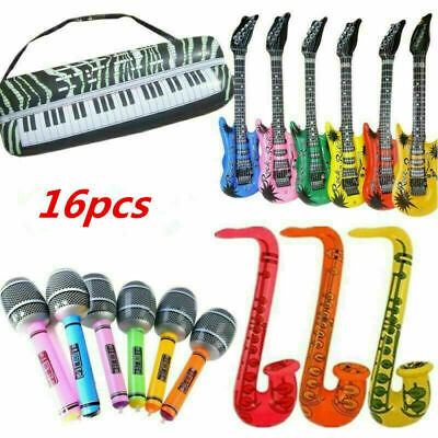 16pcs Inflatable Music Instruments Guitar Microphone Saxophone Colourful Blow Up • 7.99£