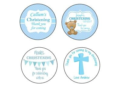 Personalised Christening Stickers For Boys Blue GLOSS Party Sweet Cone Bag Label • 3.40£