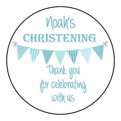 £3.40 • Buy Personalised Christening Stickers For Boys Blue GLOSS Party Sweet Cone Bag Label