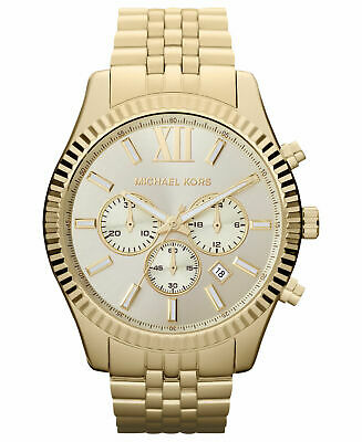 8473af559745 Michael Kors Lexington Gold Tone Dial MK8281 Stainless Steel Chrono Mens  Watch • 109.00