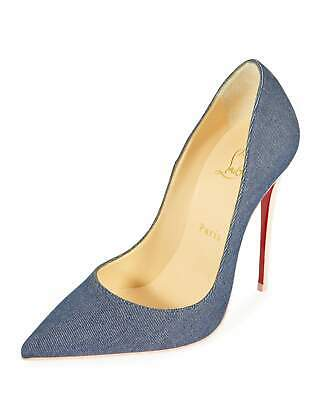 b1b3915af503 Christian Louboutin So Kate 120mm Pointy Toe Blue Pink Red Sole Denim Pump  39 9