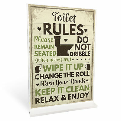 £4.99 • Buy Toilet Sign Shabby Chic Standing Plaque Sign For Toilet Bathroom Loo Home Decor