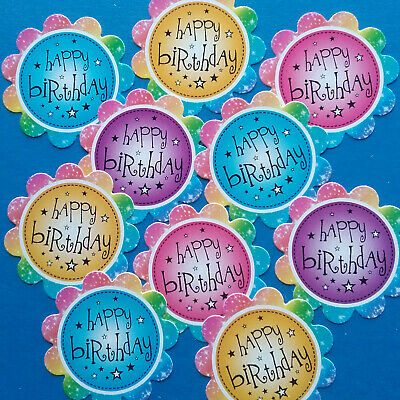 10 Happy Birthday Sentiments - RAINBOW - Hand Made Card Making Toppers (BRB) • 1.09£