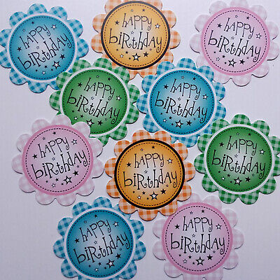 10 Happy Birthday Sentiments - GINGHAM - Hand Made Card Making Toppers (BGING) • 0.99£