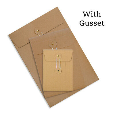 Brown DL C4 C5 C6 Quality String & Washer With Gusset Envelopes Button Tie • 10.59£