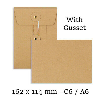 C6 Size Quality String&Washer Manilla With Gusset Envelopes Button-Tie Cheap • 189.09£