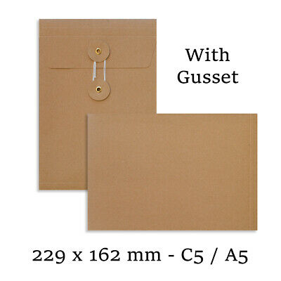 C5 Size Quality String&Washer Manilla With Gusset Envelopes Button-Tie Cheap • 7.39£