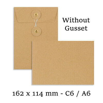 C6 Size Quality String&Washer Manilla W/O Gusset Envelopes Button-Tie Cheap • 5.15£