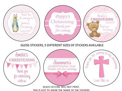 Personalised Christening Stickers For Girls GLOSS Party Sweet Cone Bag Label • 3.40£