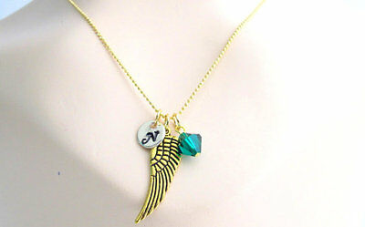 Symbol Of Love Gold Angel Wing Initial And Birthstone Gold Wing Feather Necklace • 10.12£