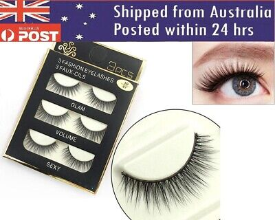AU6.55 • Buy Eyelashes 3 Pairs Natural Long Thick Makeup Cross False Eye Lashes AU Stock Mink