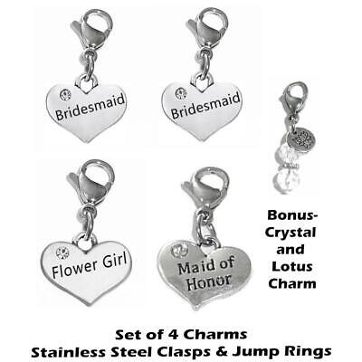 $7.49 • Buy Wedding Party Charms - Clip On Anywhere - Bride, Bridesmaid, Mother Of The Bride