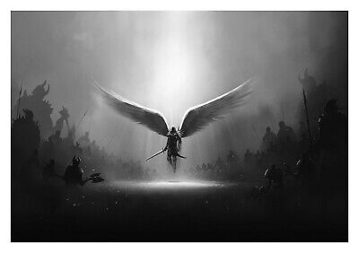£15.29 • Buy Fantasy Angel Wings Warrior - Black And White Art Large Poster & Canvas Pictures
