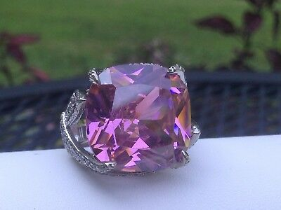 $150 • Buy Charles Winston Pink & White Cubic Zirconia Sterling Silver Ring 32.32ctw