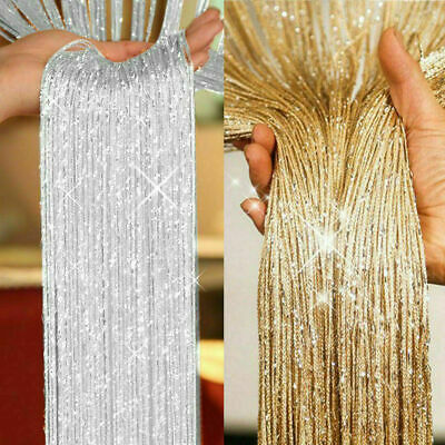 £7.39 • Buy Glitter String Curtain Panels Door Fly Screen Room Divider Voile Net Curtains UK