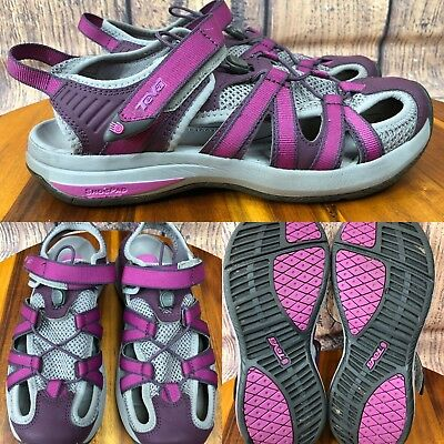 b6c7ed821 Womens TEVA 1002717 Gray   Purple Sport Sandals Walking Water Shoes SIZE  7.5 • 39.99
