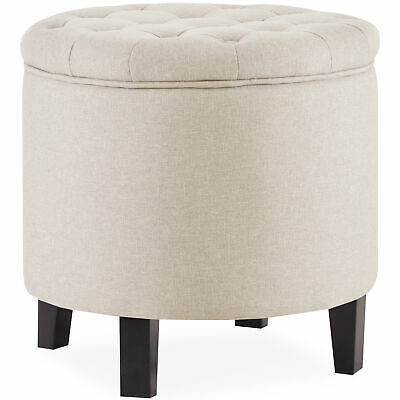 $68.99 • Buy Large Round Tufted Ottoman Footstool Seat Living Room Bedroom (Beige)