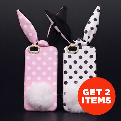 Bunny Polka Dots Fluffy Tail (Real Fur) Case Rabbit Ears IPhone 6 / 6s / Plus • 9.16£