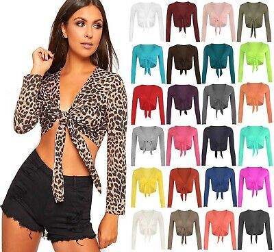 New Ladies Front Tie Up Cropped Bolero Shrug Womens Wrap Open Cardigan Top 6-14 • 5.95£