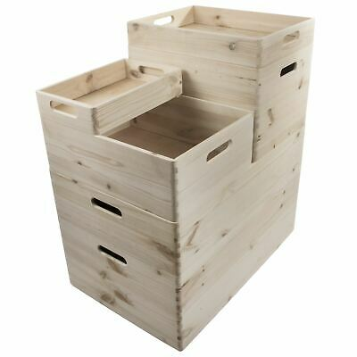£11.95 • Buy Choice Of Stacking Wooden Open Boxes Plain Crates With Handles / Small To XLarge