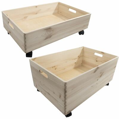 Extra Large Wooden Pine Crate Open Storage Box On Wheels Unpainted Chest Trunk • 36.95£
