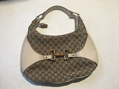 49bc58b2d Authentic Gucci GG Canvas Horse Bit Bamboo GG Canvas Leather Purse Shoulder  Bag • 380.00$